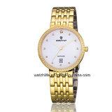 Дешевый wristwatch пар кварца вахты способа вахты сапфира нержавеющей стали диаманта