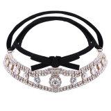 方法PUファブリックビロードのリボンのダイヤモンドのラインストーンカラーチョークバルブのネックレスの宝石類