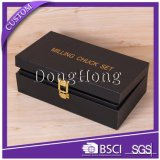 Logo OEM Fermeture magnétique Luxury Brown PU Cuir Box