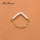 単リングの模倣真珠の宝石類金カラーリンク・チェーンのリング