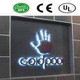 3D éclairé à contre-jour lumineux par DEL annonçant des signes