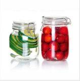 Vaso di vetro ermetico di memoria con la clip del metallo, vetro del vaso del miele, vaso di biscotto di vetro