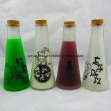 bottiglia di vetro rotonda del latte della spremuta della decorazione della bevanda 350ml con sughero