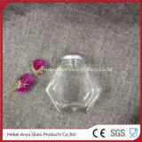 مرطبان سداسيّة زجاجيّة لأنّ سكّر نبات مع فضة صفيحة مقصدرة غطاء