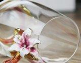 Taza de té de cristal coloreada hermosa de la taza del diamante del esmalte