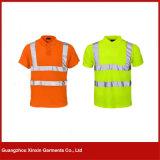 Crear la camiseta anaranjada reflexiva del cuello para requisitos particulares redondo barato (W78)