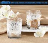ロゴ、パターンサービスのガラス茶ライト蝋燭のコップ