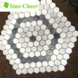 De gekleurde Hexagon Tegel van de Vloer van het Mozaïek van Carrara Grijze en Witte