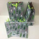 Bolsas de papel Slivery del embalaje del regalo de la Navidad de la impresión