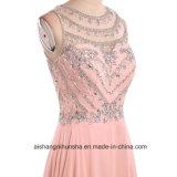 Платья выпускного вечера кристаллов шеи ветроуловителя красотки реального изображения шифоновые длинние