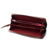 Signora di cuoio Handmade Wallet di corsa della chiusura lampo del Brown di buoni prezzi di alta qualità
