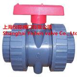 Handgriff PVC-Kugelventil PVC-doppeltes zutreffendes Anschluss-Kugelventil