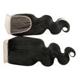 Закрытия шнурка объемной волны волос девственницы закрытия шнурка человеческих волос закрытие шнурка объемной волны бразильского прифронтового бразильское