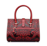 2017 nuovi fiori di disegno hanno impresso i sacchetti di Tote di cuoio rossi della borsa per le donne