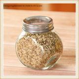 frasco de vidro desobstruído pequeno da especiaria de sal 150ml e de pimenta com tampa do metal
