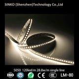 IP65 imperméabilisent la ligne simple la lumière de bande de la carte 10mm 5050 RVB DEL 120 LEDs/M