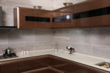 Contemporary High Gloss Brown MDF peinture cuite armoires de cuisine