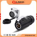 Cnlinko 다핵 2-12 Pin TUV/UL/CCC 승인 방수 IP65/IP67 개머리판쇠 힘 Gold-Plated 구리 합금을%s 가진 전기 원형 배선 연결관