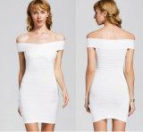 Vestido de bandagem Strapless com moda Sexy vestido branco Curto