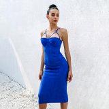 Платье V-Шеи выскальзования женщины безрукавный и сексуальное короткое плотно Backless
