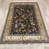 Стороны Knotted Шелковый восточный дизайн сцены охоты шелковые ковры 4x6
