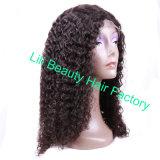 Lili belleza Cabello Rizado rizado de color oscuro Natural pelucas 10-24pulgadas Pre desplumados de encaje completo pelucas cabello humano.