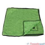 Microfiber stampato morbido verde che lucida il panno di pulizia di lavoro a maglia di trama
