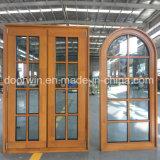 Finestra solida incurvata del pino della stoffa per tendine della Rotondo-Parte superiore e di legno del larice