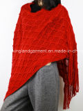 Acrílico Moda Senhora Inverno Quente Vermelho / Preto Poncho Fralda Reversível