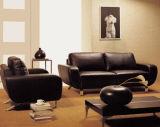 Sala de estar com sofá moderno mobiliário em pele genuína