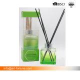 spruzzo liquido della stanza 100ml in bottiglia di vetro con il coperchio ed il documento materiali della decalcomania di abitudine a colori la casella