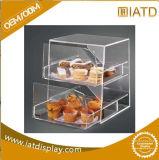 Conteneur cosmétique d'étalage de Backery de plexiglass de nourriture acrylique claire de sucrerie