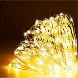 lampe de lumière de câblage cuivre de chaîne de caractères de 6m 60LEDs DEL avec le panneau solaire (blanc chaud)