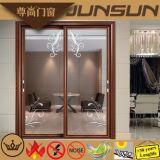 Portes coulissantes en aluminium des graines en bois traditionnelles avec le panneau en verre décoratif
