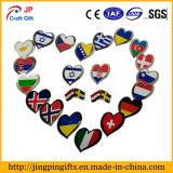 Kenteken van de Speld van het Metaal van de Vlag van de Vorm van het hart het Nationale, Speld van de Revers van het Email van de Douane de Zachte