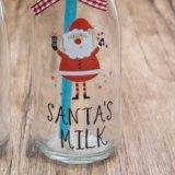 De Fles van de Melk van het Sap van het Glas van de Stijl van Kerstmis met Stro