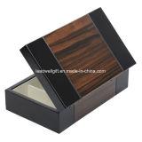 Tissu de Sueded rayé par main en bois foncée de cadre de bijou de cas de course
