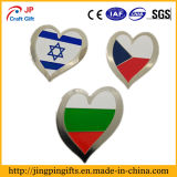 Distintivo di Pin di metallo della bandiera nazionale di figura del cuore, Pin morbido su ordinazione del risvolto dello smalto