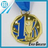 Medalhas da concessão do campeonato de futebol do futebol com as fitas pretas da garganta