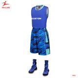 Concevoir uniforme du Jersey de basket-ball de meilleur bleu fait sur commande uniforme de basket-ball un plus défunt