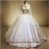 Vestido de casamento feito sob encomenda do Assoalho-Comprimento longo do bordado do laço do cetim da luva