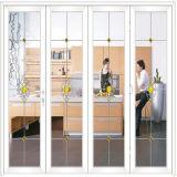 [إيوروبن] تصميم خشبيّة طباعة لون ألومنيوم [فرنش دوور] مع زجاج واضحة