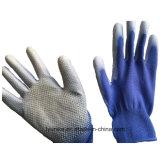 Пвх пунктирной полиэстера вязаные рукавицы покрытие PU