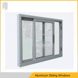 Ventana de desplazamiento de aluminio de cristal de la doble vidriera con la parrilla