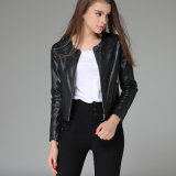 OEM Europe Style Black Leather Leathercycle Jacket for Women