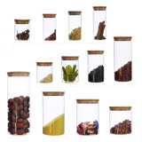 Alle Größen-Bambusdeckel-Glasflasche für Nahrungsmittelspeicher