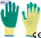 Calibre 10 paume enduite de polyester/coton vert ondulée Latex Gants de travail