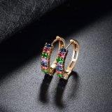 中国の卸し売り方法多彩なCZの石造りの金の宝石類のイヤリング