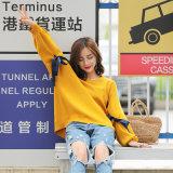 Nuevas mujeres del estilo del suéter del espacio en blanco del diseño que hacen punto el suéter de la funda del palo de los modelos