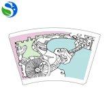 Ventilatore pieghevole della tazza della carta patinata del PE di promozione stabile di qualità a gettare